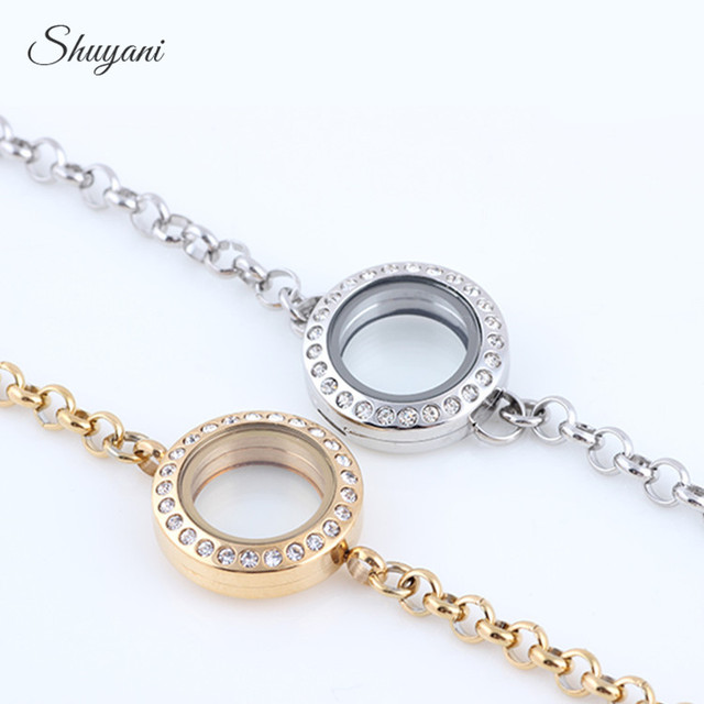Lowest Price 20mm Rhinestone Locket Bracelet Stainless Steel Openable Gl Memory Floating For Charms