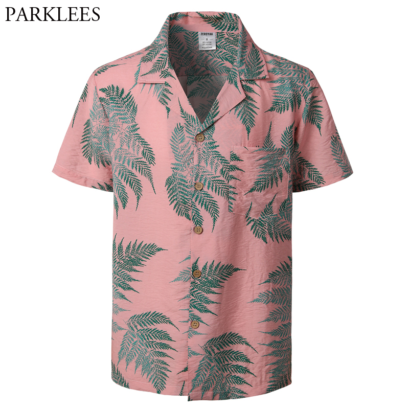 Mens Hipster Casual Short Sleeve Hawaiian Aloha Shirts 2019 Summer New Button Down Tropical Men Beach Shirt With Pocket Pink 2XL
