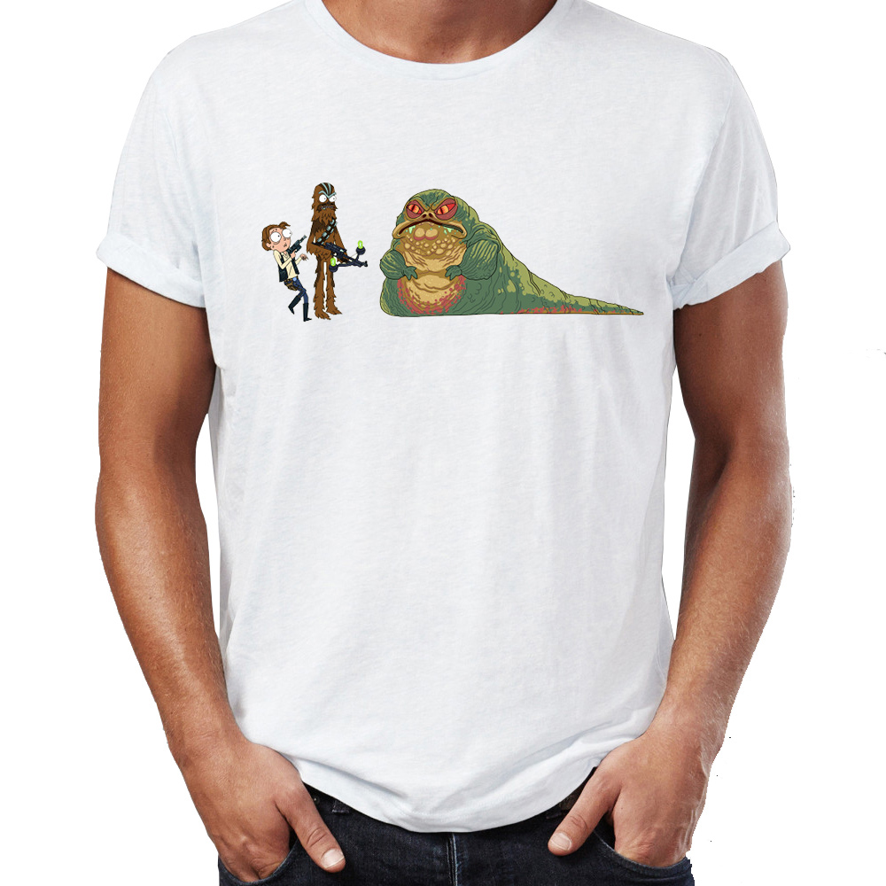Men's T Shirt Rick And Morty Star Wars Crossover Han Solo