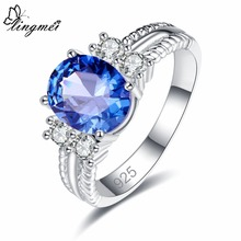 lingmei New Dropshipping Fashion Wedding Oval Cut Blue & White Cubic Zircon Silver Jewelry Ring Size 6 7 8 9 For Women Gifts