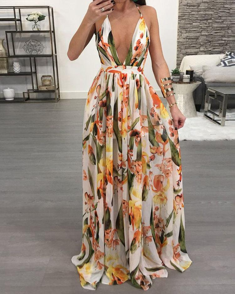 Laamei Summer Women Torridity Bohemian Dresses Beach Vestidos Boho long Evening Party Gown v neck Sexy  printed Maxi Dress