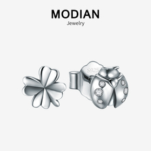 Modian New 100% 925 Sterling Silver Trendy Vintage Insect Flower Clover Lovely Stud Earrings For Girls Party Silver Fine Jewelry modian genuine silver earrings for women 925 sterling silver stud earrings silver 925 with colorful fantastic jewelry