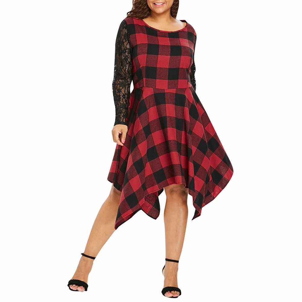 Женское повседневное кружевное клетчатое платье с принтом в стиле пэчворк, платье с длинным рукавом, персонализированное сексуальное платье с круглым вырезом, высокое качество, Новое поступление