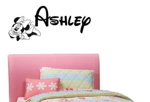 PERSONALIZED NAME MINNIE MOUSE WALT Custom Vinyl Wall Decal Sticker Decor w24inch