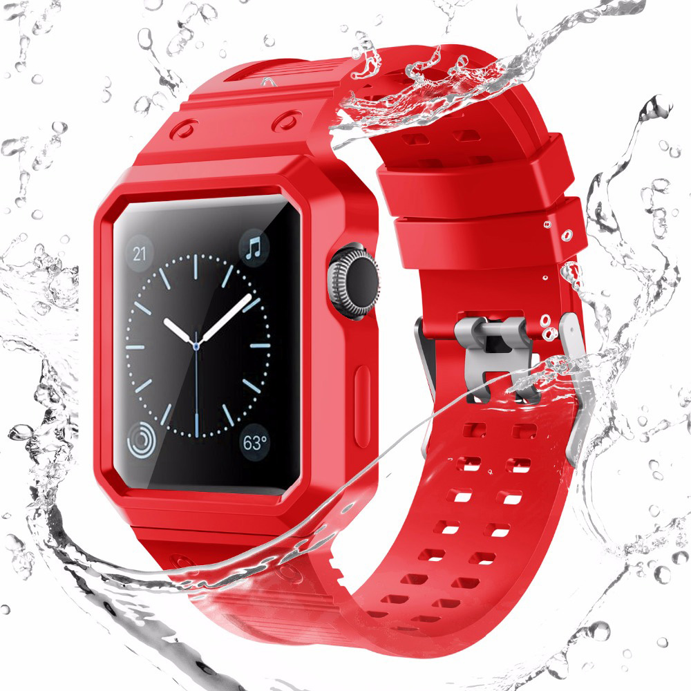 38mm 42mm Multiple Color TPU Rubber Silicone Strap For Apple Watch Sport Loop Watch Bands With Protective Case For iWatch 1 2 3 series 1 2 3 soft silicone case for apple watch cover 38mm 42mm fashion plated tpu protective cover for iwatch