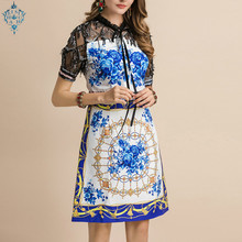 Ameision 2019 Fashion Runway Summer Dress Womens Lace Short Sleeves Floral Print Mesh Splice Elegant Slim Casual Dresses