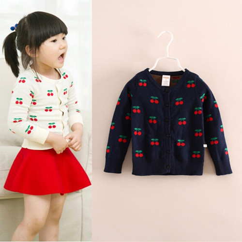 03382b84d 2T 6Y Europe brand baby girls sweater coat navy white color cherry ...