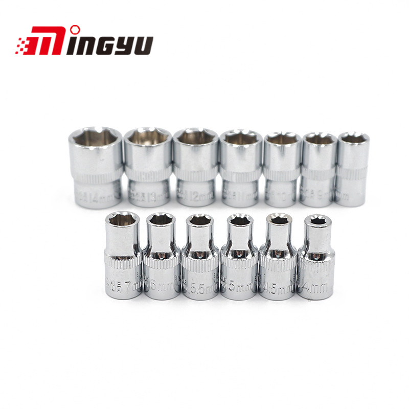 "MINGYU 13PCS 4-14MM 1/4"" Metric Drive Socket Set Professional Hand Tools Set CRV Mirror Finished Free Shipping"