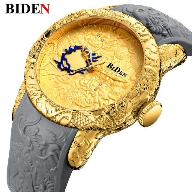 2018 New Fashion 3D Sculpture Dragon Men's Quartz Watches Brand BIDEN Gold Watch