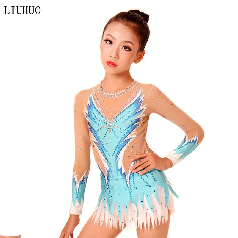 Women rhythmic gymnastics leotards for girls performance suit Artistic gymnastics dress Multi-color Long sleeve Round neck