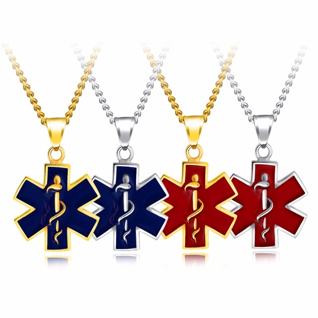 26mm Medical Alert Symbol Metal Tag Necklace In Stainless Steel 22