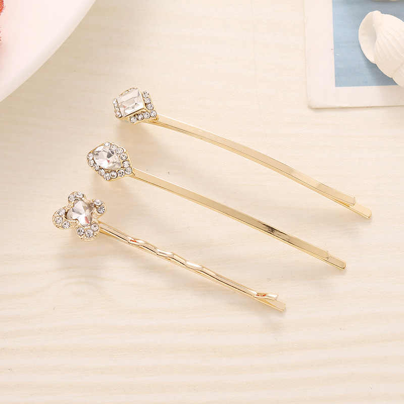 3-PK Metal Gold Bobby Pins With Crystal Embellished Women Hair Accessories Hair Slides