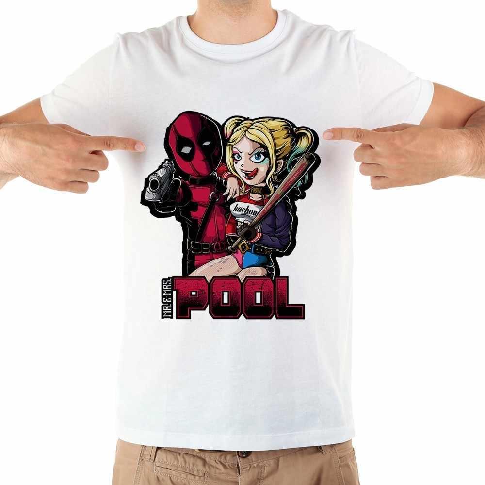 Пара DP и Харли Джокер забавные мужские футболки новые летние белые с коротким рукавом повседневные homme cool Дэдпул Куинн футболка