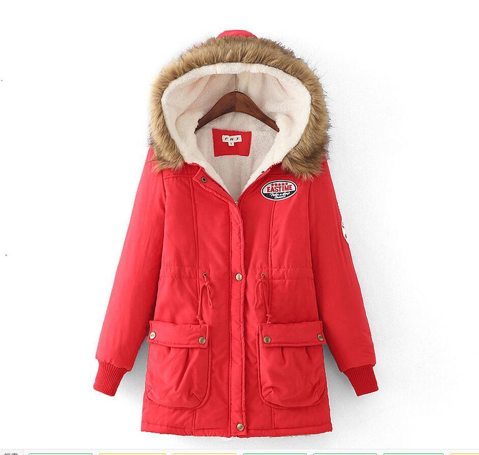 2017 women winter thicken warm coat female autumn hooded cotton fur plus size   basic     jacket   outerwear slim long ladies   jackets   99