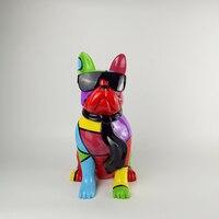 New Creative Personality Occupation American Bulldog Dog Simulation Resin Dog Ornaments Figurine Statue Artificial Dog Gift