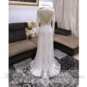 Image 5 - Mryarce מעודן תחרה ארוך שרוול ללא משענת חתונת שמלת 2019 Boho שיק שמלות כלה שמלות הכלה robe de mariage
