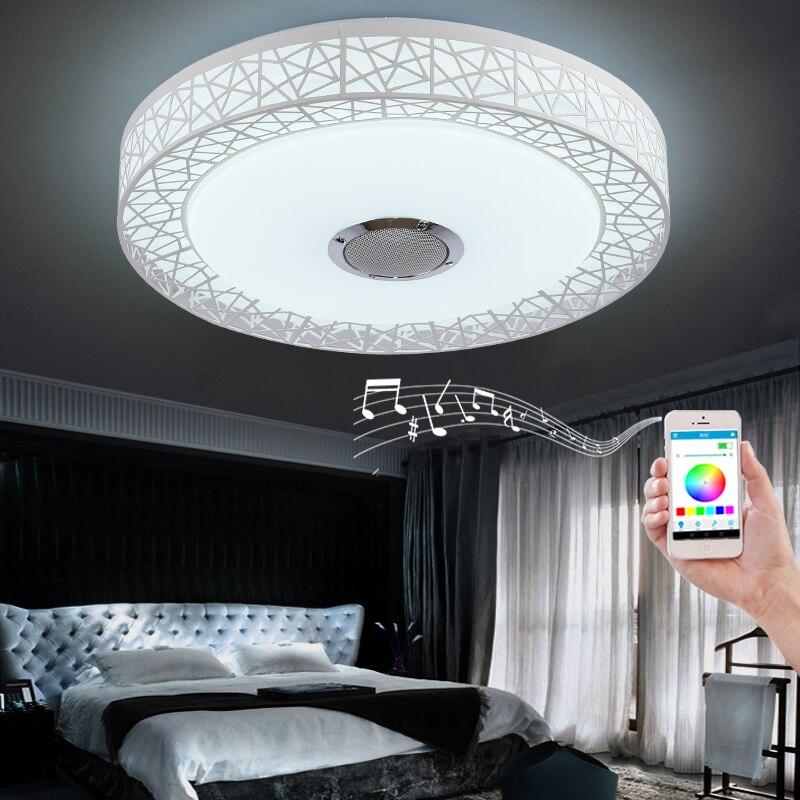 Simple créatif (nid d'oiseau) smart Bluetooth plafonnier lampe de salon chambre APP + télécommande led lumière ronde