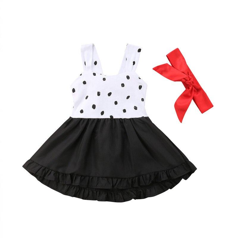 Toddler Infant Kids Children Baby Girls Dress Summer Sleeveless Dot Bowknot Patchwork Princess Party Dresses Girl Clothing