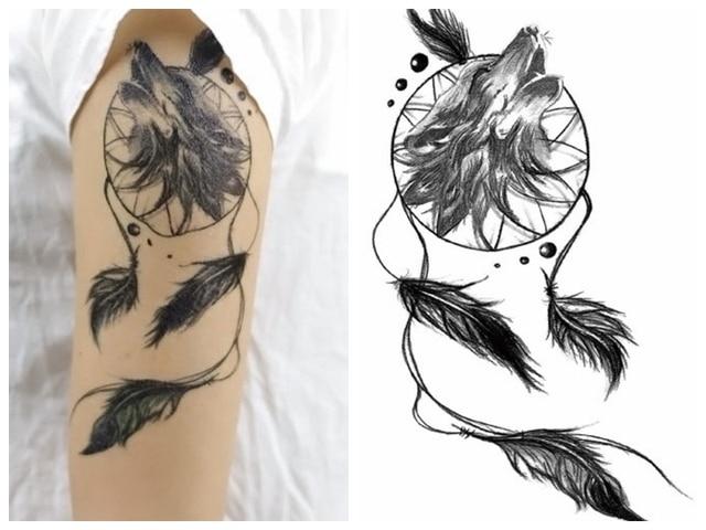 396796fda Water Temporary Tattoo Stickers Dreamcatcher Wolf feather Body Art  temporary Tattoo Terrorist Stickers Flash Taty Tato