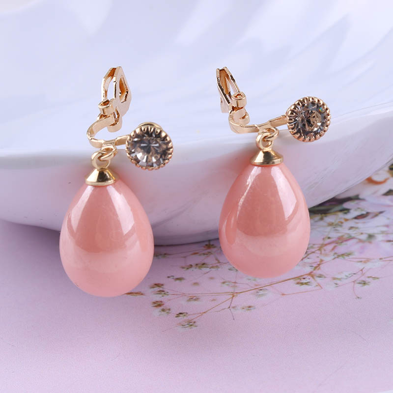 Luxury High Light Spring Colour Resin Waterdrop Clip On Earrings For Women Girl Party Without Pierced Favorite Fashion Jewelry