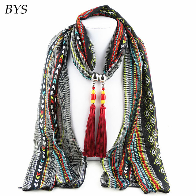 Multicolored Gradient Polyester Beaded Pendant Winter Warmth Jewelry Scarf Necklace Women Elegant Scarfs Designers Brand