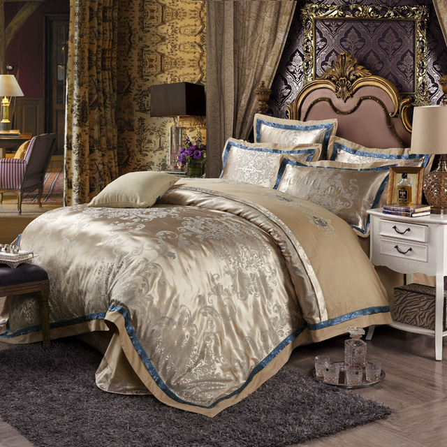 Luxury Cotton Silk Gold Bedding Sets Embroidered Jacquard Comforter Quilt  Cover Queen King Sizes Bed Spreads