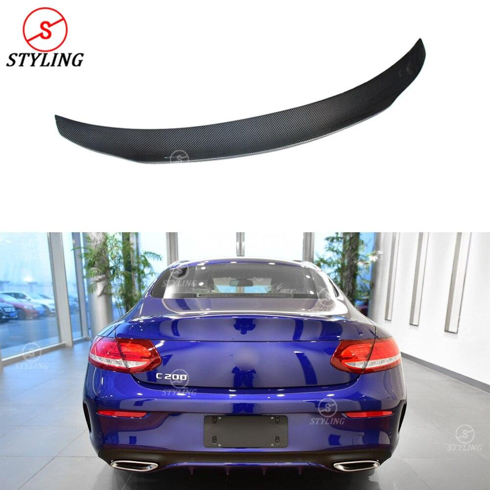 Pour mercedes-benz W205 coupé Spoiler PSM Style C classe W205 fibre de carbone pare-chocs arrière coffre spoiler 2014 2015 2016 2017 2018 +