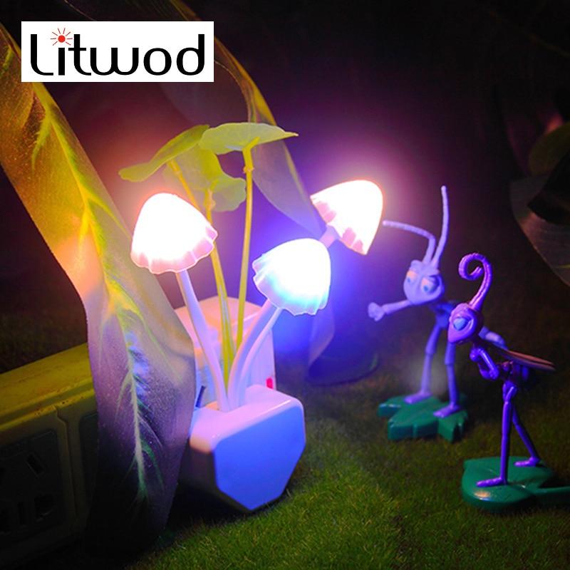 Night-Light-Sensor Bulbs-Motion Novelty Mushroom Leds Us-Plug Colorful Litwod Fungus