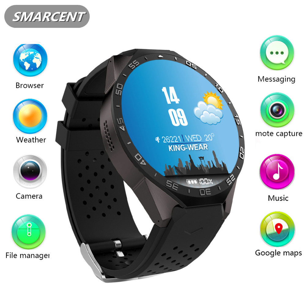 Kingwear Kw88 Android 5 1 OS Smart Watch Electronics 1 39Inches AMOLED MTK6580 SmartWatch Phone Support
