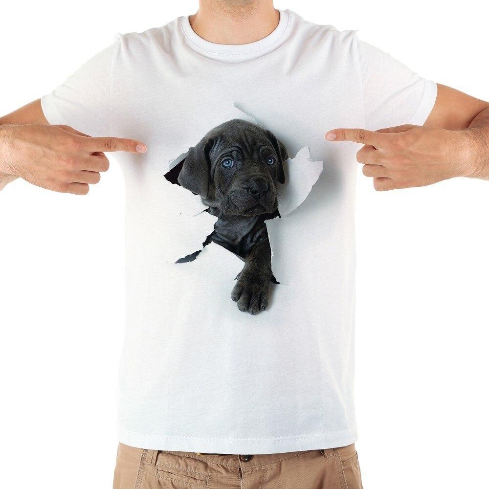귀여운 지팡이 corso 개 밖으로 3D 찢어진 tshirt 남성 새로운 흰색 편안한 캐주얼 t 셔츠 옴므 짧은 소매 플러스 사이즈 티셔츠