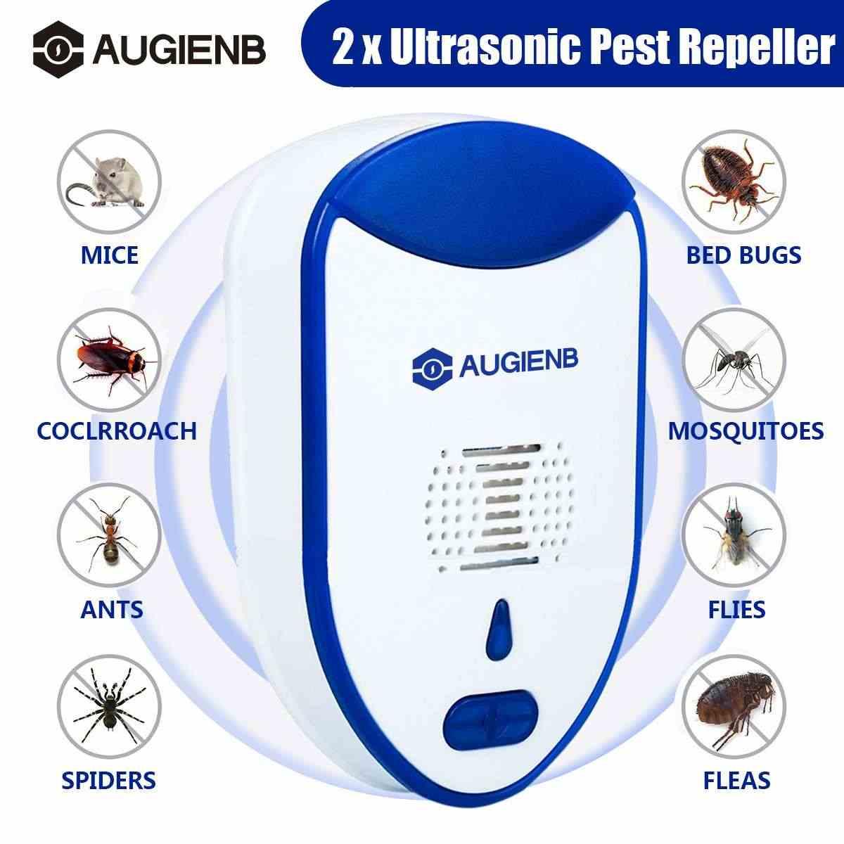2 حزمة AUGIENB الإلكترونية القط بالموجات فوق الصوتية مكافحة البعوض مبيد الحشرات الجرذ الصرصور الآفات الرافض طارد الاتحاد الأوروبي الولايات المتحدة التوصيل