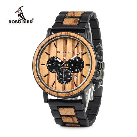 Design de Madeira e Metal Relógios de Quartzo Ideal para Presente Reloj Hombre Bobo Pássaro Relógio Masculino Novo C-p09