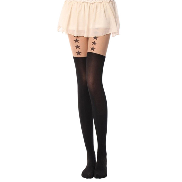 5713a62f5 women scoking pantyhosewith star Printed tights pantyhose cute  sexypantyhose make you star more attractive collant femme Gift