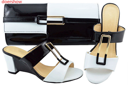 doershow Italian Matching Shoes and Bag Set African Wedding Shoe and Bag set blackwhite Shoe and Handbag Summer Set Women!BF1-14 дарья денисова что как звучит занятия с ребенком от рождения до года