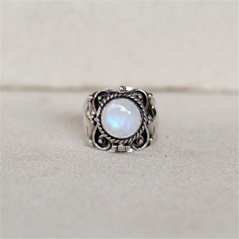 ZHIXUN New Vintage Zinc Alloy Moonstone Ring For Jewelry Wedding Engagement Ring Size:6-10