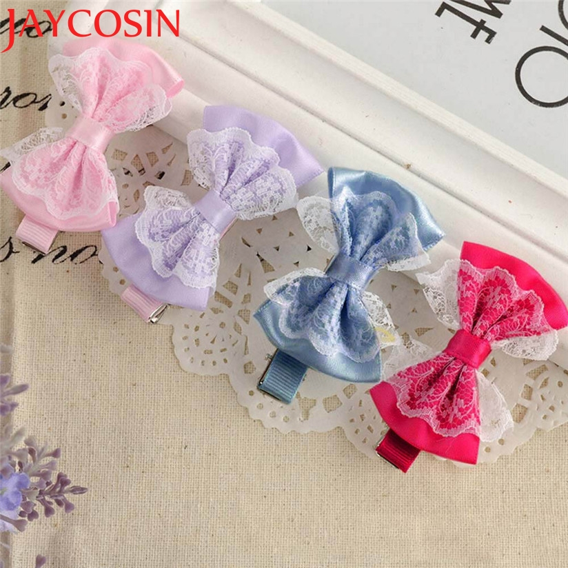 JAYCOSIN Baby Hairpin Cute Lace Bowknot Hair Clips Baby Girl Hairpin Child Hair Accessories Free Shipping Hot Selling Wholesale halloween party zombie skull skeleton hand bone claw hairpin punk hair clip for women girl hair accessories headwear 1 pcs