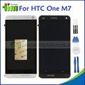 Черный Серебристый Для HTC ONE M7 Dual Sim 802 w 802d 802 т ЖК-Дисплей С Сенсорным Экраном Дигитайзер Ассамблеи + Рамка Ремонт Рамы Запчасти + Инструменты
