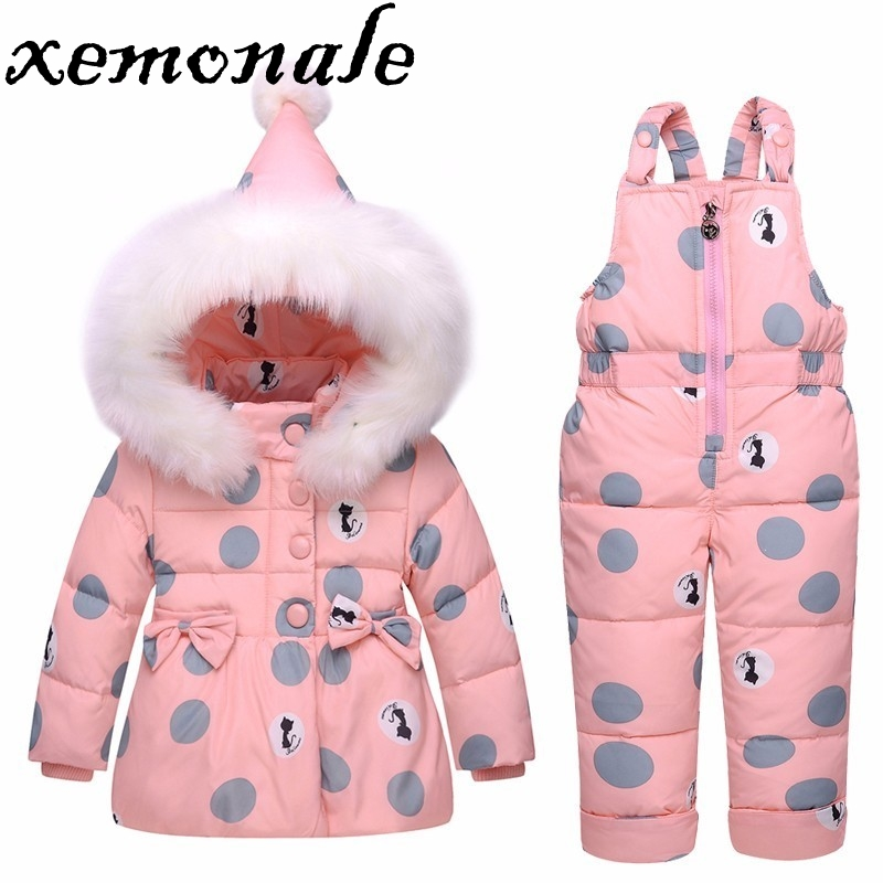 Xemonale 2017 Winter children clothing sets girls Warm parka down jacket  baby girl clothes children's coat snow wear kids suit