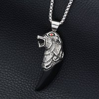 Hiphop Goofan Mythical Biological Teeth Pendant Necklace Stainless Steel Fashion Jewelry For Men Women Gift STN990
