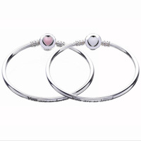 New Collection Top Quality Enamel Love Heart Clasp 925 Sterling Silver Bangle For European Charm