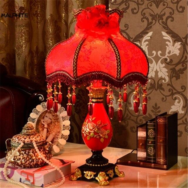 Nordique rouge mariage lampe de Table français Simple mariage maison chambre chevet lampes Table salon résine maison déco luminaires