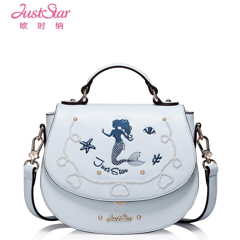 Just Star Brand Women Bag Cartoon PU Leather Handbag Girls Shoulder Messenger Bags Small Saddle Bag