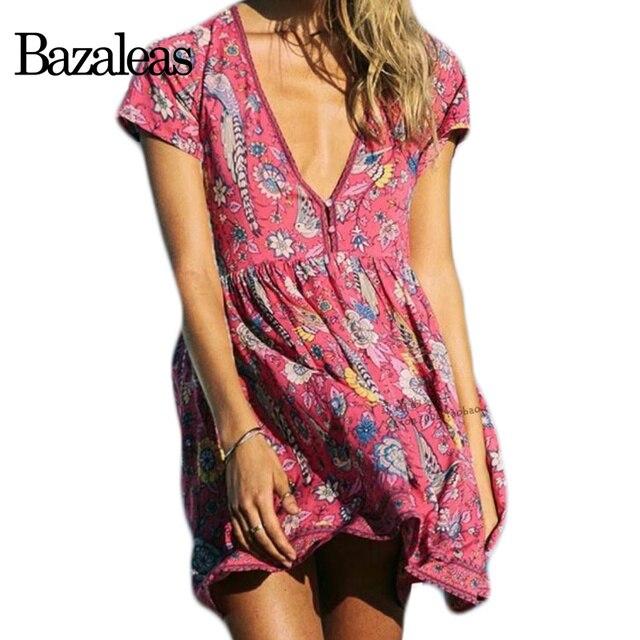 Estilo bazaleas verano v neck dress fauna imprimir partido vestidos ...