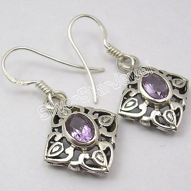 Silver Natural FACETED AMETHYST HANDCRAFTED Dangle Earrings 3.4 CM