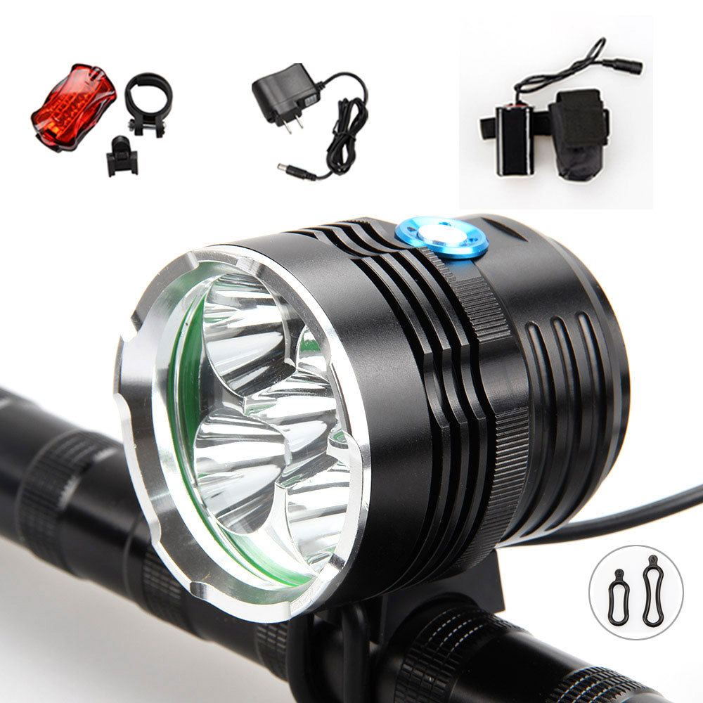 9000Lumen 5x XML T6 LED Cycling Front Bicycle bike Light Led Bicycle Headlamp 8.4V 20000mAh Battery pack Rearlight waterproof 5000 lumen 2x xml u2 led cycling bicycle bike light lamp headlight headlamp 6400mah battery pack charger