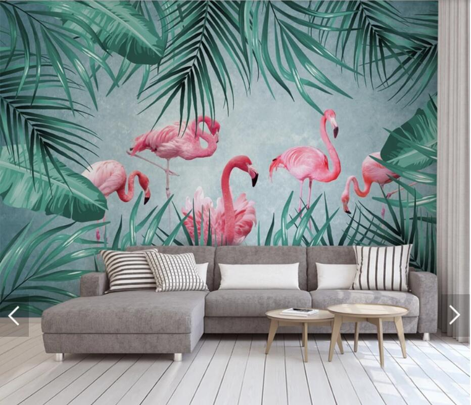 3d Tropical Flamingo Wallpaper Mural For Living Room Bedroom Wall