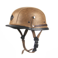 DOT Approved Retro Leather Motorcycle Helmet WWII Big German Hlaf Helmet Motorbike Casco With Goggles For