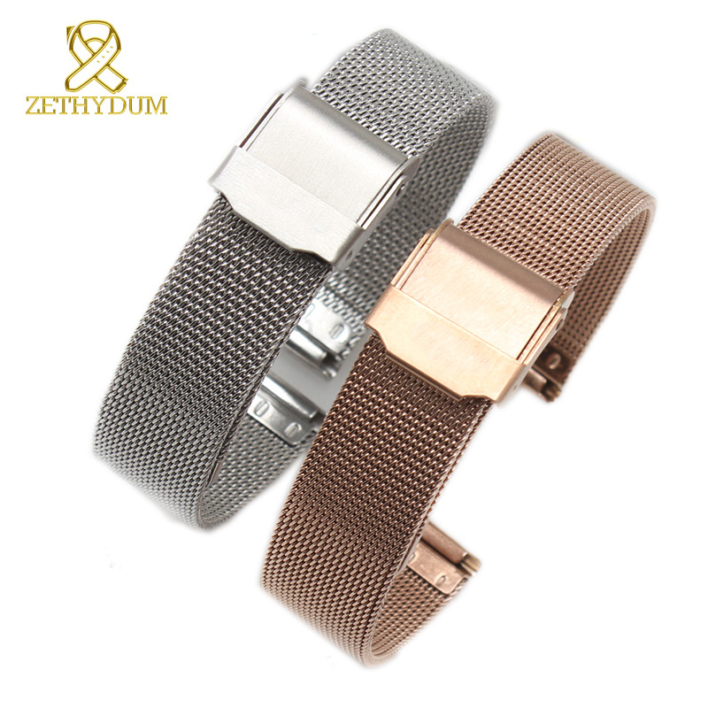 metal watchband Milan mesh band ultrathin watch strap stainless steel mesh bracelet brand 14 16 18 20 22mm watch belt zlimsn silver mesh watchbands stainless steel watch strap men women ultrathin watch band bracelet relojes hombre 14 16 18 20mm