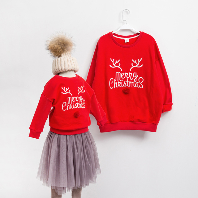 1pc Family matching christmas outfits Clothing Fleece Father Son Mom  Daughter Clothes 2017 Winter Christmas Clothes For Family - 1pc Family Matching Christmas Outfits Clothing Fleece Father Son Mom