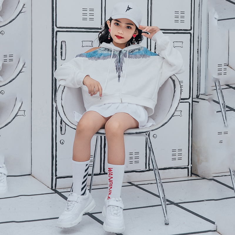 New Jazz Dance Costume Streetwear Hip Hop Clothing Stage Show Loose Tops Child Ballroom Outfit Performance Dance Wear DQS1488